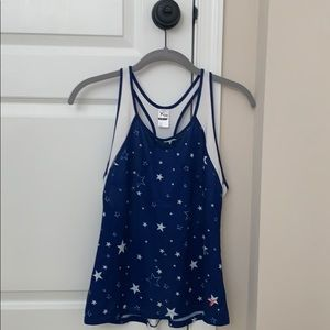 blue and white star fitness tank top